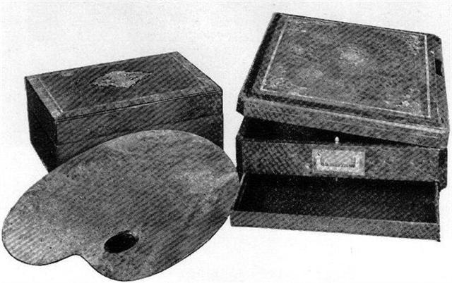 Paleta y caja de pinturas de Morel